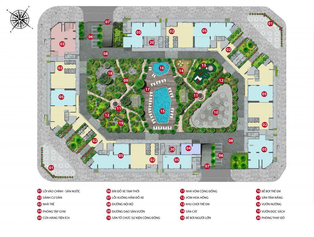 Sơ đồ vị trí nhà trẻ dự án chung cư The Emerald CT8 Mỹ Đình
